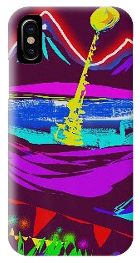Night Scene IPhone X Case featuring the digital art Mt. Shasta Moonlight by Nancy Good