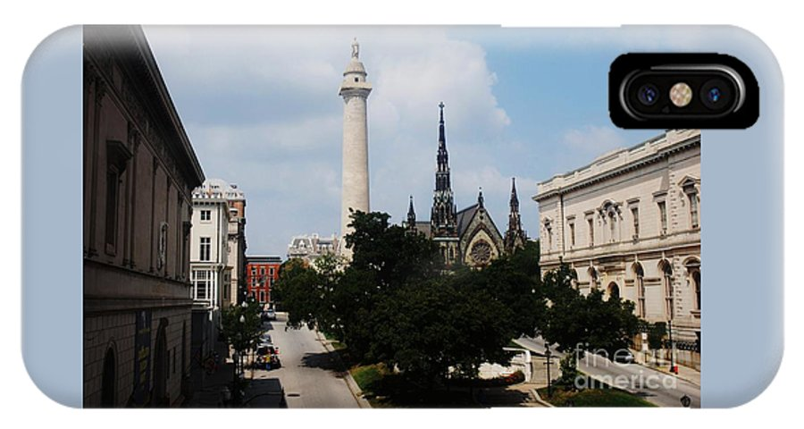 Baltimore Art Stock Shot Home Decor Mount Vernon Place Urban Landmarks Washington Monument Buildings Outdoors Walters Art Gallery Peabody Greenery Belvedere Methodist Church Spires Iconic Image Mt Vernon Park Canvas Print Wood Print Etal Frame Poster Print Available On Greeting Cards Pouches T Shirts Tote Bags Shower Curtains Wall Tapestries Mugs Weekender Tote Bags Throw Pillows And Phone Cases IPhone X Case featuring the photograph A Unique Perspective Of Mt. Vernon Place Baltimore by Marcus Dagan