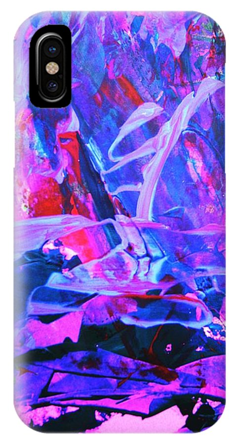 Abstract IPhone X / XS Case featuring the painting Muggeled by Bruce Combs - REACH BEYOND
