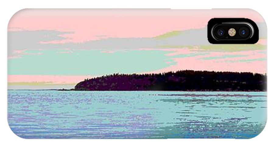 Abstract IPhone X Case featuring the digital art Mukilteo Clinton Ferry Panel 2 Of 3 by James Kramer