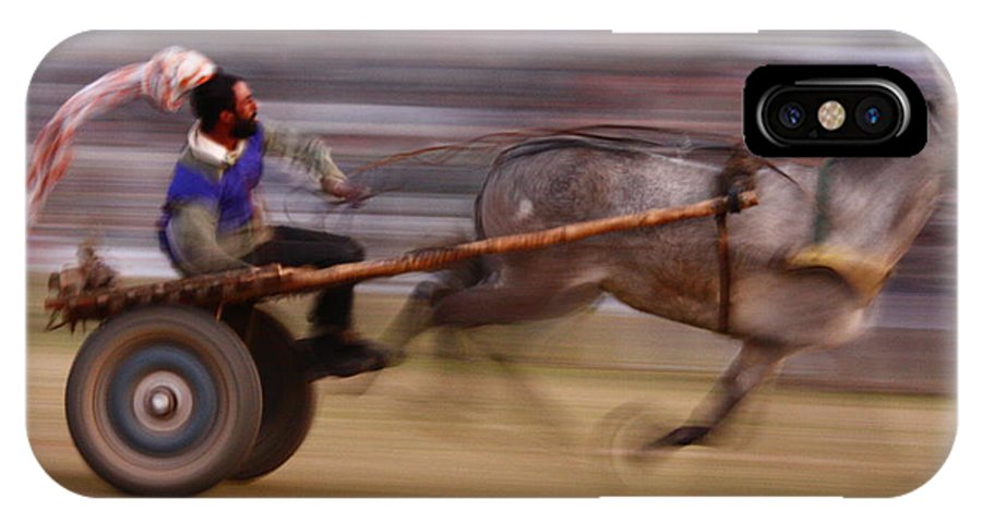 Participant IPhone X Case featuring the photograph Mule Cart Race by Ajit Pal Singh