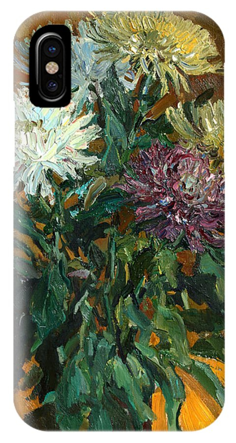 Still Life IPhone X Case featuring the painting Multi Colored Chrysanthemums by Juliya Zhukova