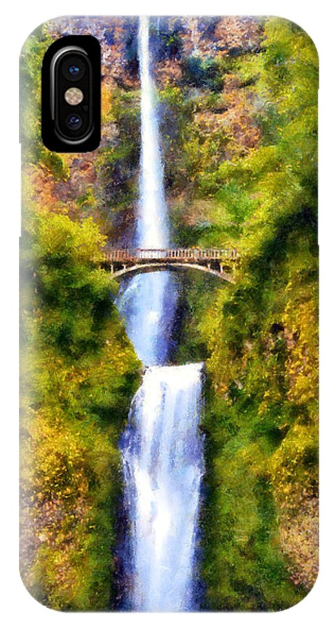 Multnomah Falls IPhone X Case featuring the digital art Multnomah Falls by Kaylee Mason