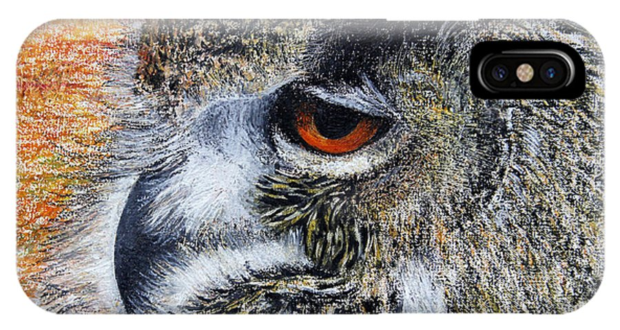 Long Eared Owl IPhone X Case featuring the painting Mumble by John Hebb