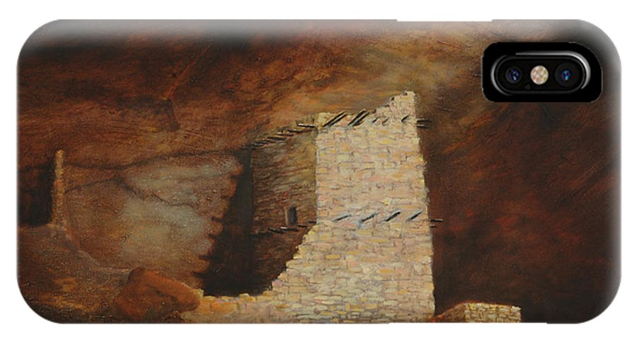 Anasazi IPhone X Case featuring the painting Mummy Cave by Jerry McElroy