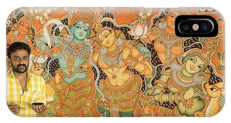 Muralpainting Devotion  IPhone X Case featuring the painting Muralpainting Devotion by Naveen pb Naveen