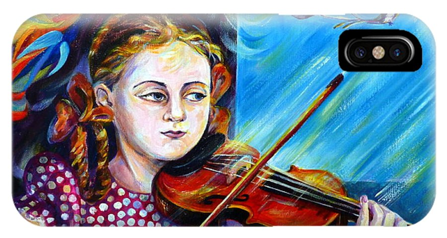Music IPhone X Case featuring the painting Music Lessons by Anna Duyunova