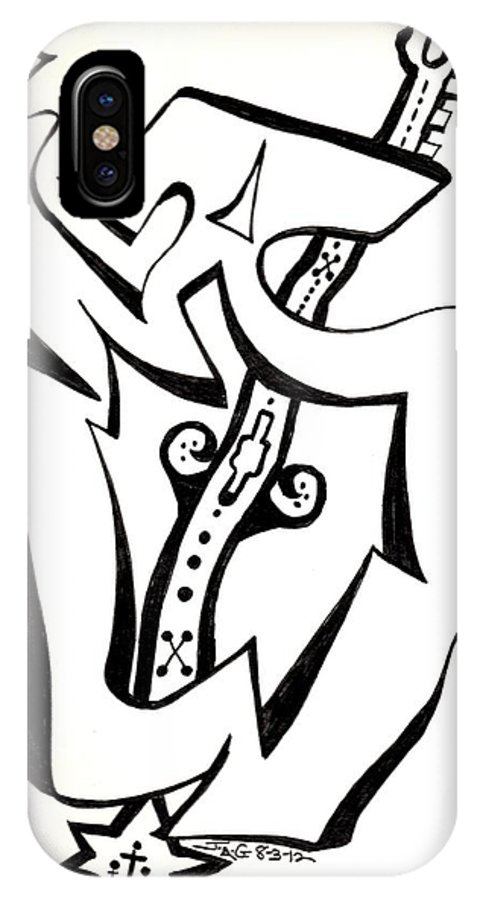 Line Drawing IPhone X Case featuring the drawing Music Within by Judy Gerstner