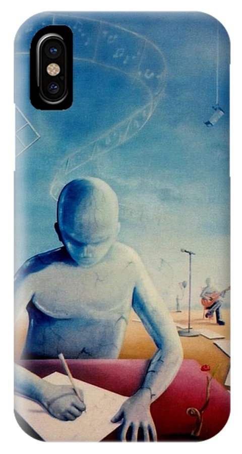 Blue IPhone X Case featuring the painting Musician's Dreams by Kevin Escobar