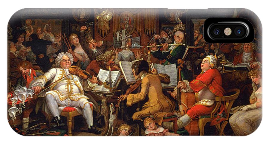 Edward Francis Burneyamateurs Of Tye-wig Music IPhone X / XS Case featuring the painting Musicians Of The Old School by Celestial Images