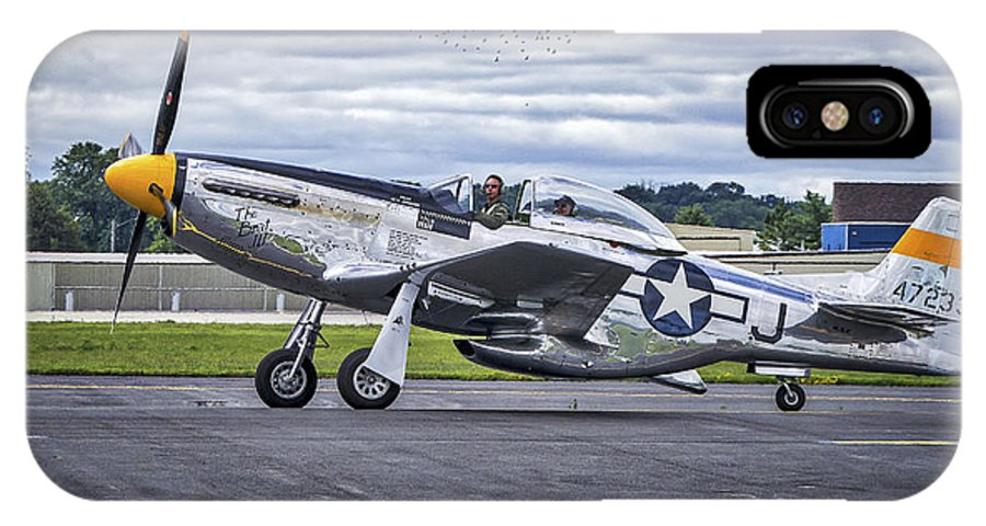 Airport IPhone X Case featuring the photograph Mustang P51 by Steven Ralser