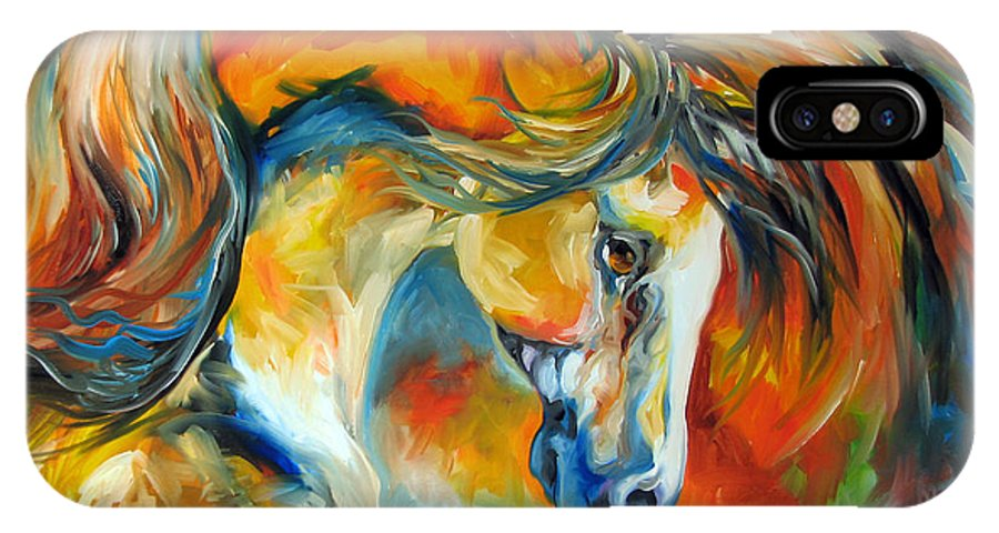 Equine IPhone X Case featuring the painting Mustang West by Marcia Baldwin