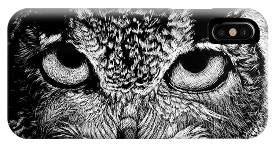 Owl IPhone X Case featuring the drawing My Eyes Have Seen You by Nathan Cole