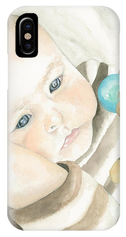 Babies IPhone X Case featuring the painting My Grandson by Kimberly Lavelle