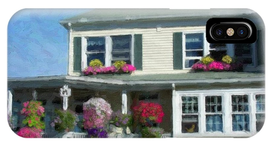 House Porch Windows Shutters Curtains Railings Flowers Baskets Grass Chimney Flower Boxes Blue White Green Red Pink Yellow Purple Blue Vines Roses Lilies Geraniums IPhone X Case featuring the digital art My Home by Jody McNary