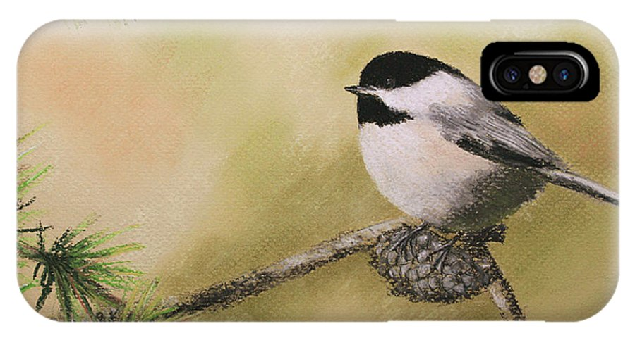 Chickadee IPhone X Case featuring the pastel My Little Chickadee by Marna Edwards Flavell