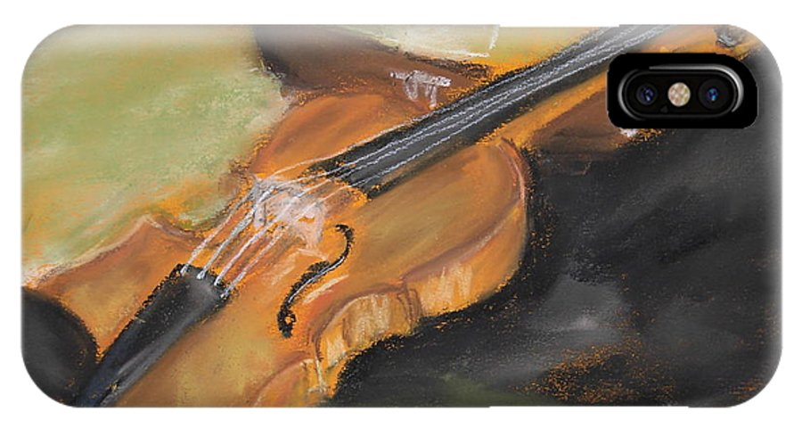 Violin IPhone X Case featuring the pastel My Lttle Violin by Gitta Brewster