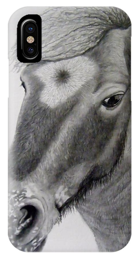 Horse IPhone X Case featuring the drawing My Mini by Tanya Arends
