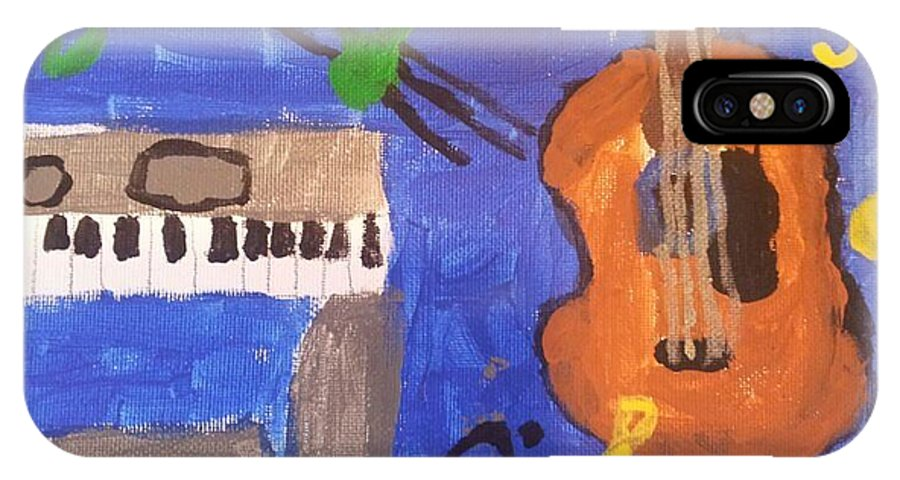 Guitar IPhone X Case featuring the painting My Musical World by Epic Luis Art