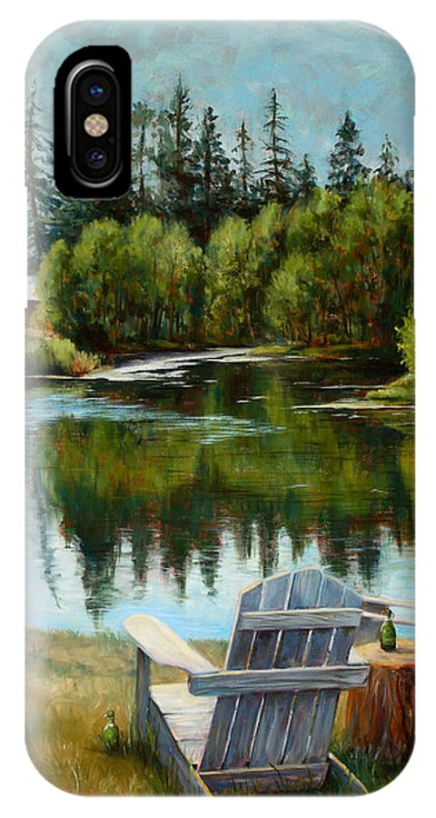 Adirondack Chair IPhone X Case featuring the painting My Space by Mary Giacomini