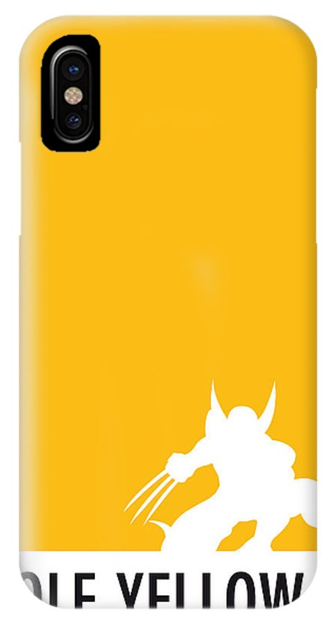 Superheroes IPhone X Case featuring the digital art My Superhero 05 Wolf Yellow Minimal Poster by Chungkong Art