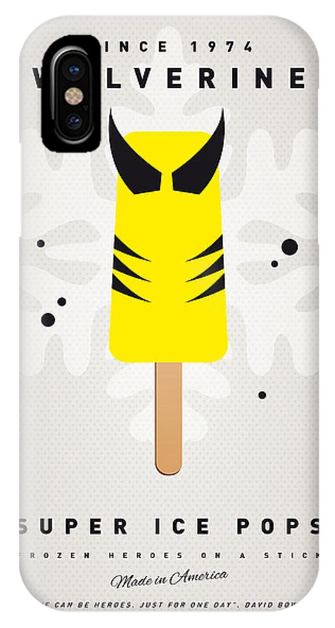 Superheroes IPhone X Case featuring the digital art My Superhero Ice Pop - Wolverine by Chungkong Art