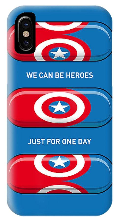 Superheroes IPhone X Case featuring the digital art My Superhero Pills - Captain America by Chungkong Art