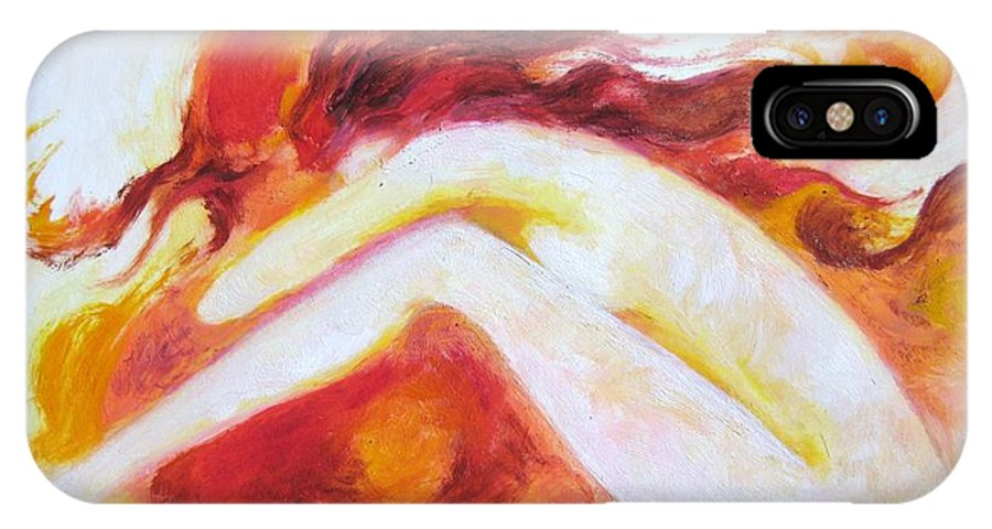 Woman IPhone X Case featuring the painting My Thoughts Are My Own by Marat Essex