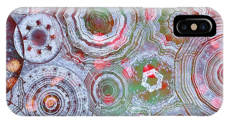 Abstract IPhone X Case featuring the digital art Mysterious Circles 3 by Klara Acel