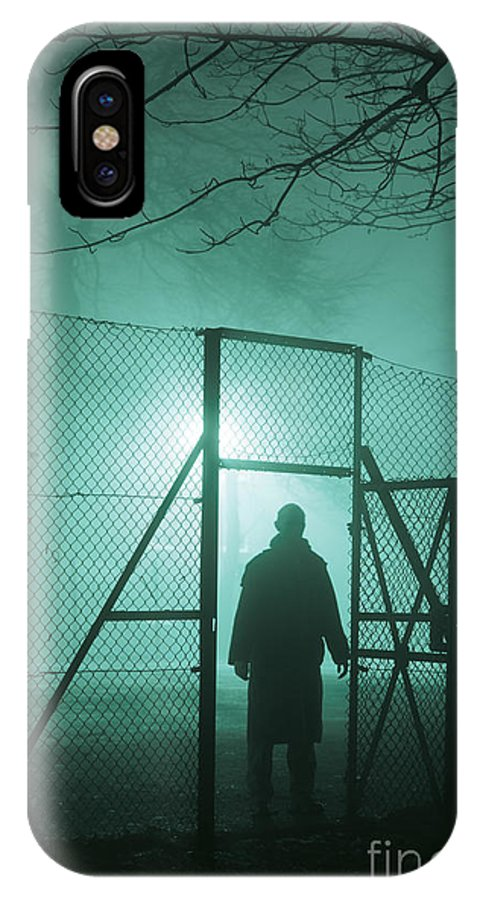 Man IPhone X Case featuring the photograph Mysterious Man At Night by Lee Avison
