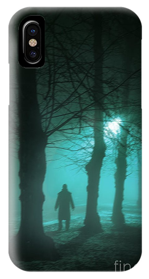 Man IPhone X Case featuring the photograph Mysterious Man In A Foggy Forest by Lee Avison