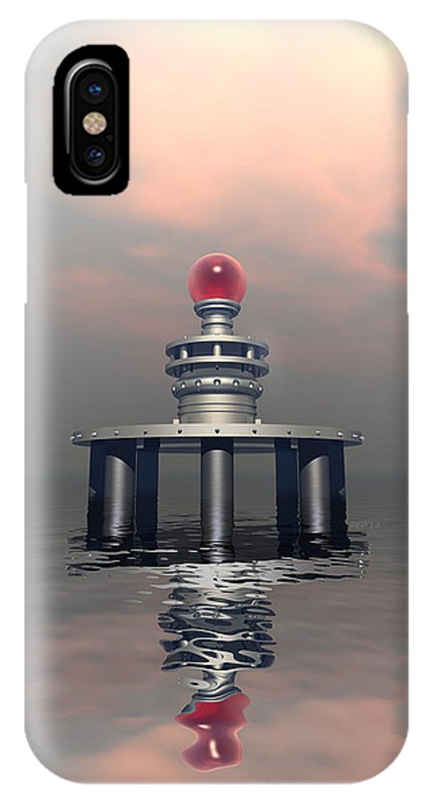 Structure IPhone X Case featuring the digital art Mysterious Metallic Structure by Phil Perkins