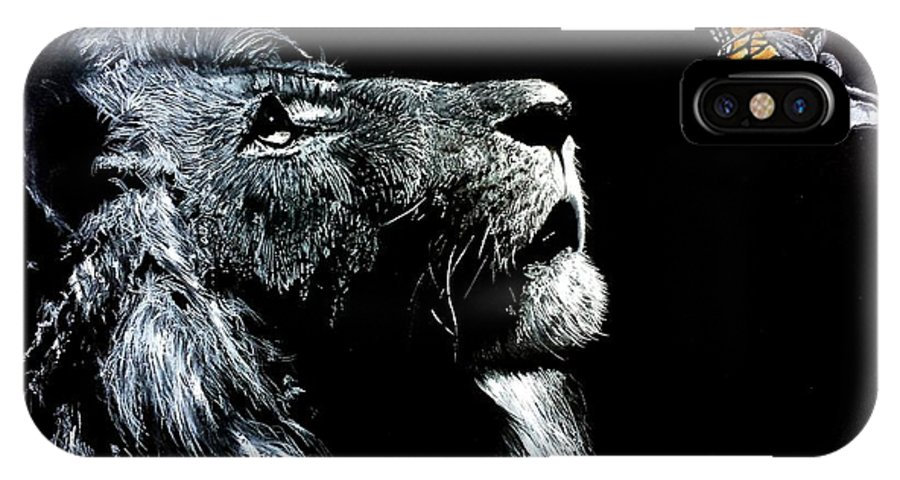 Ink Charcoal Lion Wildlife Extinction Beauty Grade King Jungle Butterfly Escape Safari Africa Roam IPhone X / XS Case featuring the drawing Mystery by S G Williams