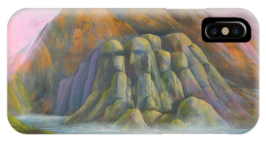 Surreal Landscape Bluffs With Faces IPhone X Case featuring the painting Mystic Bluffs by J W Kelly