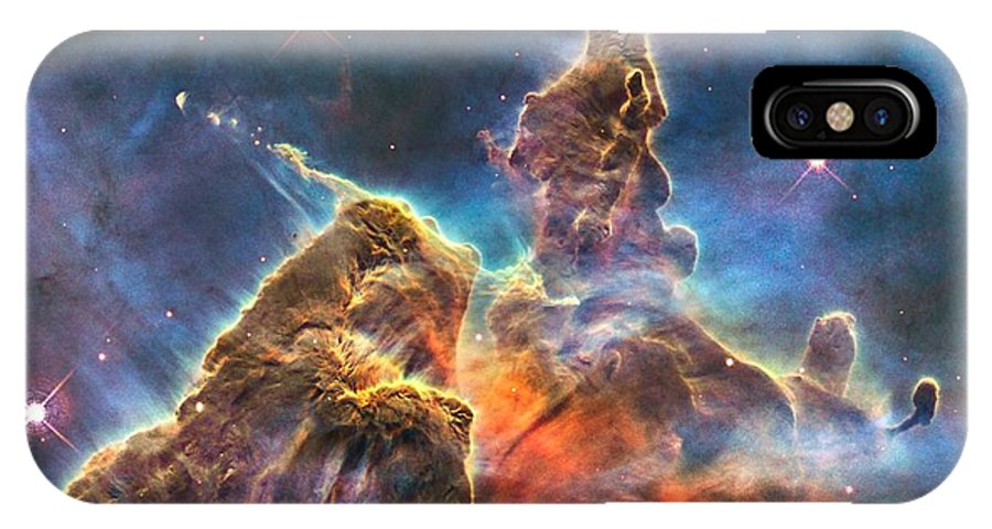 Mystic Mountain Carina Nebula Giant Clouds Gas Dust Stellar Nursery Outer Space Deep Space Hubble Orbiting Space Telescope Nasa National Aeronautics Space Administration Esa European Space Agency Three Light Years Tall Scorching Radiation Streams Of Charged Particles Hot Ionized Gas Hubble's Wide Field Camera 7500 Light Years From Earth Nasa/esa Hubble Space Telescope Image Captures Chaotic Activity Atop Pillar Gas Dust IPhone X Case featuring the photograph Mystic Mountain Part Of Carina Nebula by L Brown