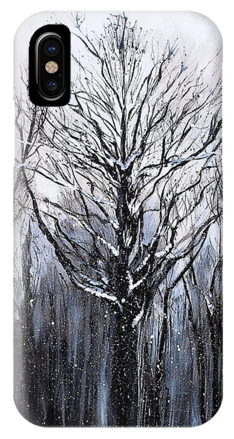 Landscape IPhone X / XS Case featuring the painting Mystic Winter by Melissa Torres