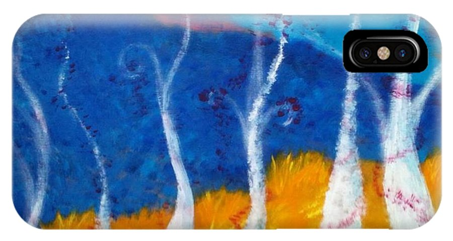 Painting IPhone X Case featuring the painting Mystical Trees by Felicia Roberts