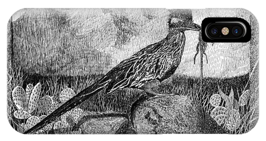 A Jack Pumphrey Pen & Ink Drawing Of Hungry Roadrunner IPhone X Case featuring the drawing Roadrunner Beep Beep Beep by Jack Pumphrey