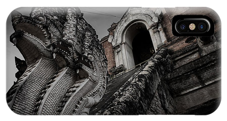 Template IPhone X Case featuring the digital art Naga@temple.... by Rak Sararak