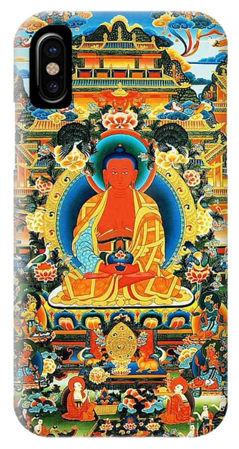 Worshipping Buddha IPhone X Case featuring the painting Namo Amitabha Buddha 24 by Jeelan Clark