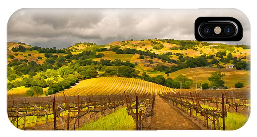 Napa Valley IPhone X Case featuring the digital art Napa Vineyard by Mick Burkey