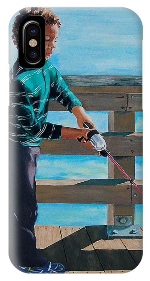 Fishing IPhone X Case featuring the painting Naples Boy Fishing by Judy Swerlick