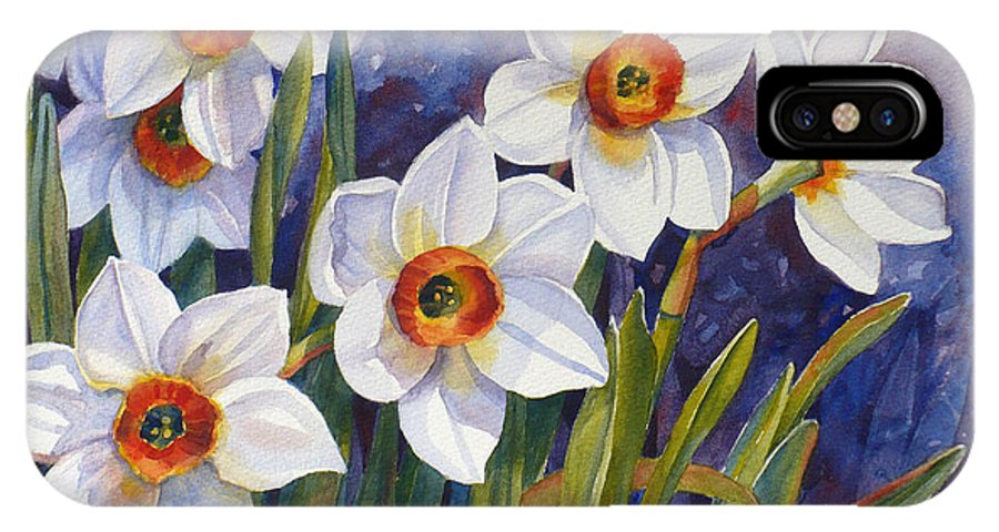 Narcissus Print IPhone X Case featuring the painting Narcissus Daffodil Flowers by Janet Zeh