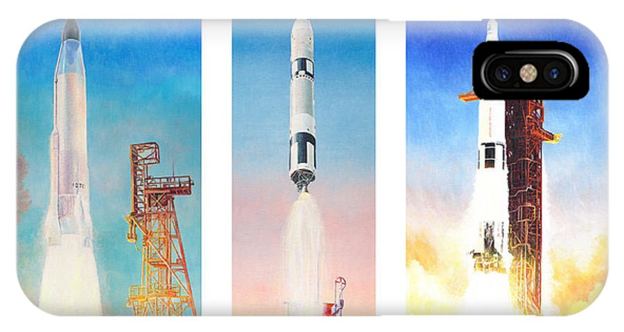 Nasa IPhone X / XS Case featuring the painting Nasa Rockets by Douglas Castleman