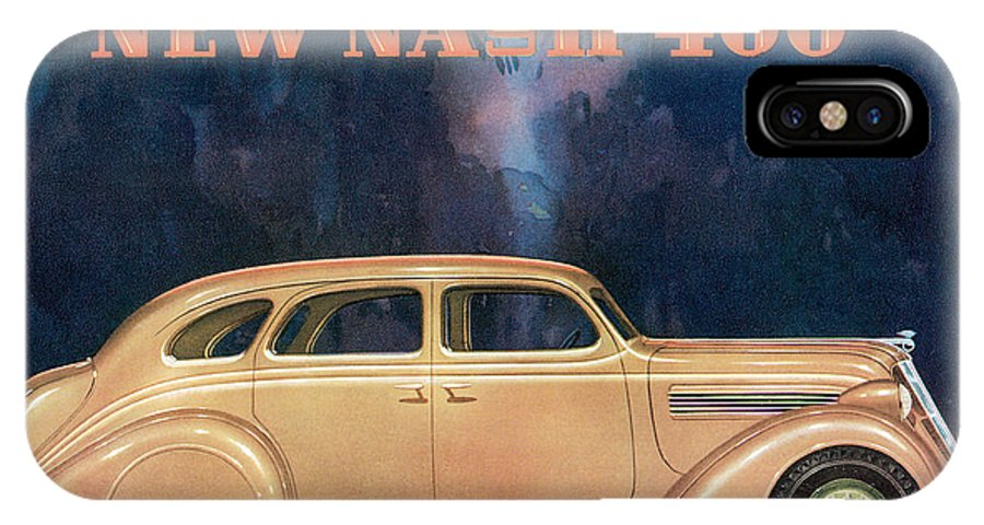 Advertisement IPhone X Case featuring the drawing Nash 400 - Vintage Car Poster by World Art Prints And Designs