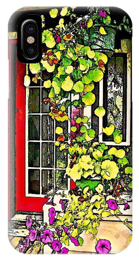 Hanging Basket IPhone X Case featuring the photograph Nasturtiums And Petunias by Stanley Funk