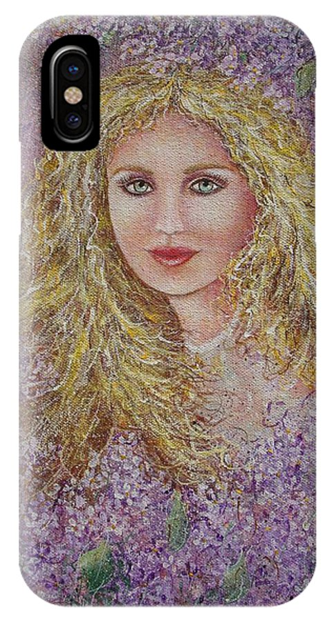 Portrait IPhone Case featuring the painting Natalie In Lilacs by Natalie Holland