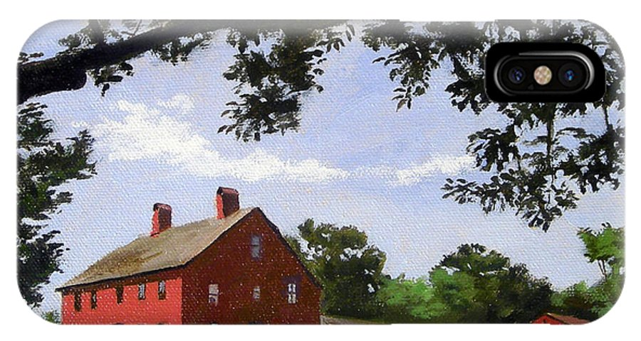 Christine Hopkins IPhone X Case featuring the painting Nathan Hale Homestead Coventry Connecticut by Christine Hopkins