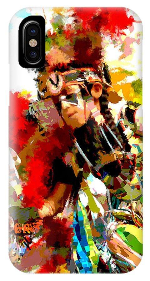 Native American Dancer IPhone X Case featuring the painting Native American Dancer-1 by Susan Holsan