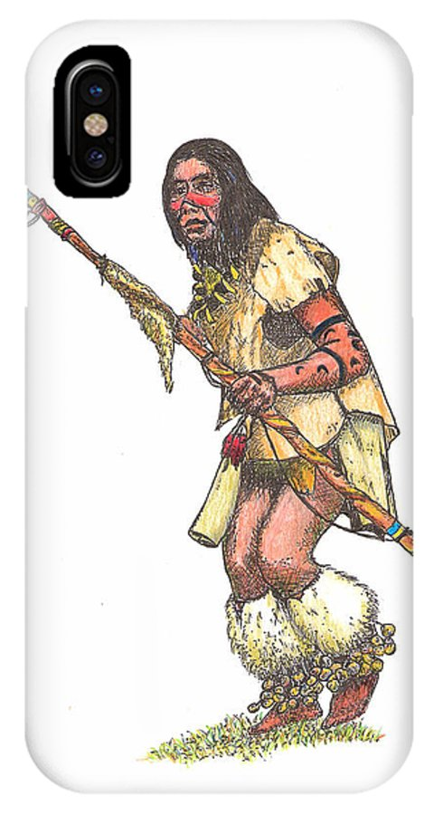 Dancer IPhone X Case featuring the drawing Native American Dancer by Lew Davis